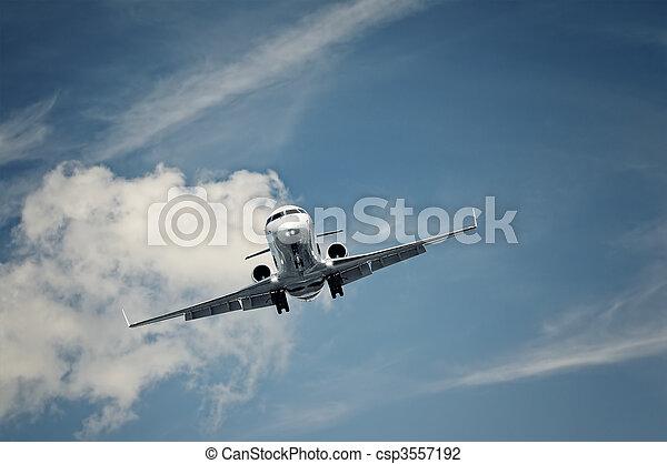 private jet landing - csp3557192
