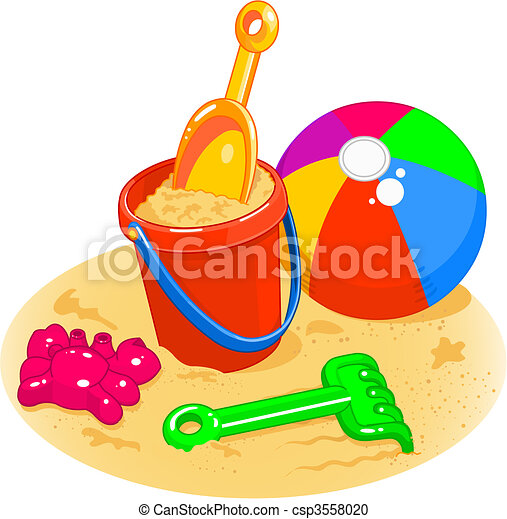 Beach Toys - Pail, Shovel, Ball - csp3558020