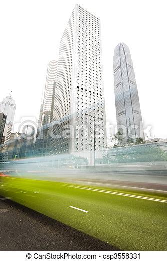 it is traffic through downtown in HongKong  - csp3558331