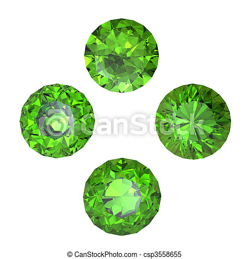 Peridot isolated on white background. Gemstone - csp3558655