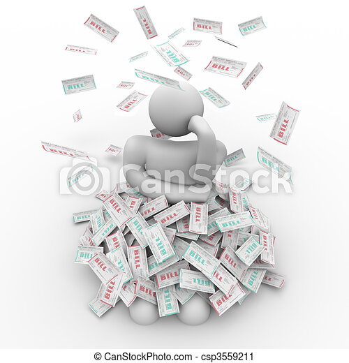 Buried in Bills - Person Thinks of Way Out - csp3559211