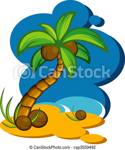 Vector illustration with a coconut  - csp3559492