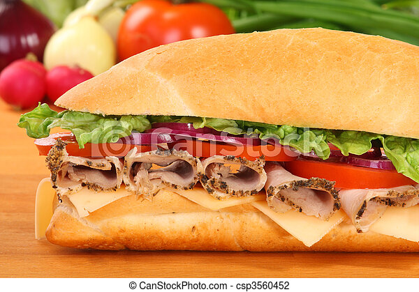 A large ham and tomato sandwich - csp3560452