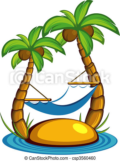 Island with palm trees and a hammoc - csp3560460