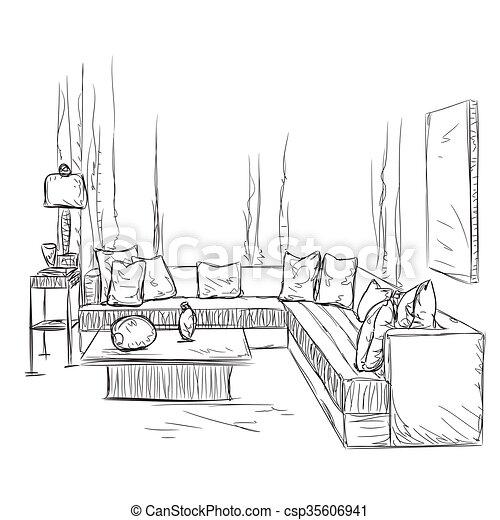 Sofa gezeichnet  EPS Vektor von zimmer, sofa, hand, inneneinrichtung, gezeichnet ...