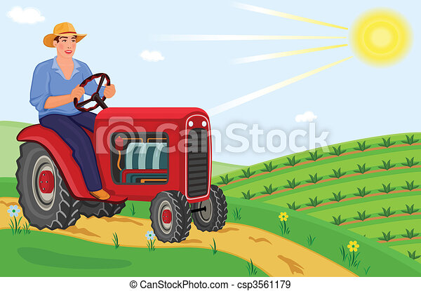 Farmer driving his tractor - csp3561179