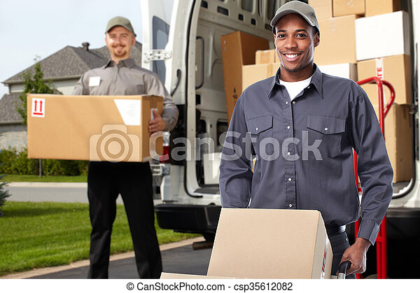 Delivery man near shipping truck. - csp35612082