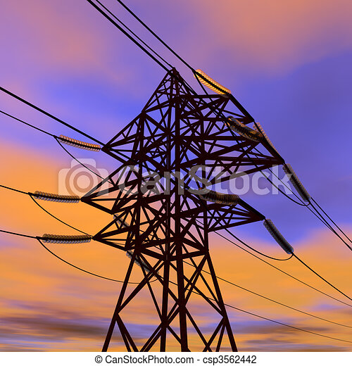 High voltage power line in sunset  - csp3562442