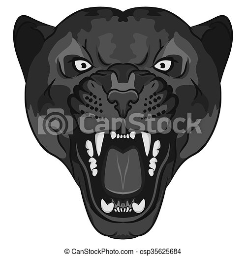 vector of panther portrait angry wild big cat head cute