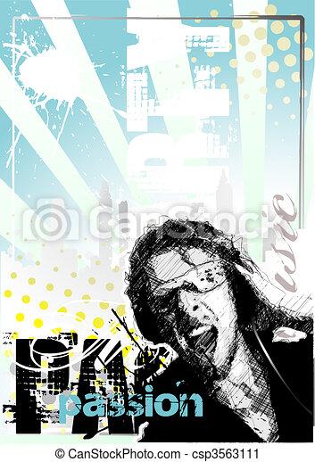 DJ, cartaz, fundo - csp3563111