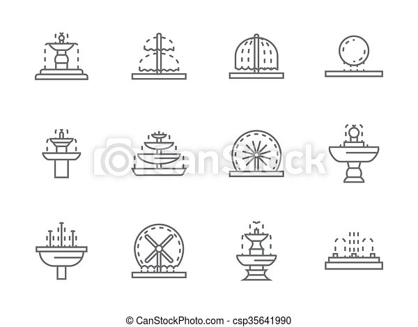 Simple black line street fountains vector icons - csp35641990