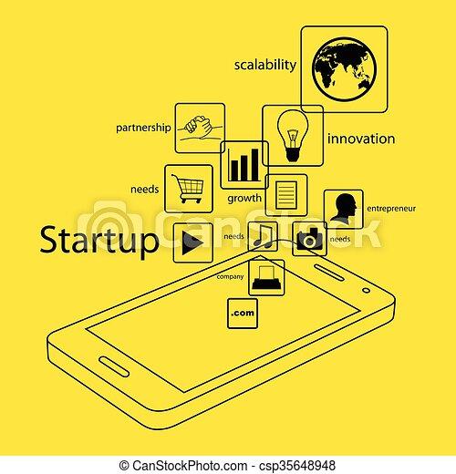 Line Art Smart Phone - csp35648948