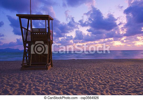 lifeguard hut at dawn - csp3564926