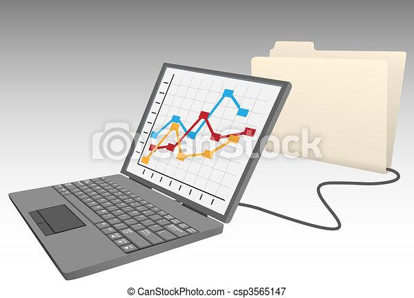 Laptop computer store data into database file folder - csp3565147