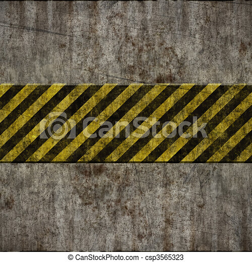old grunge wall with hazard sign - csp3565323