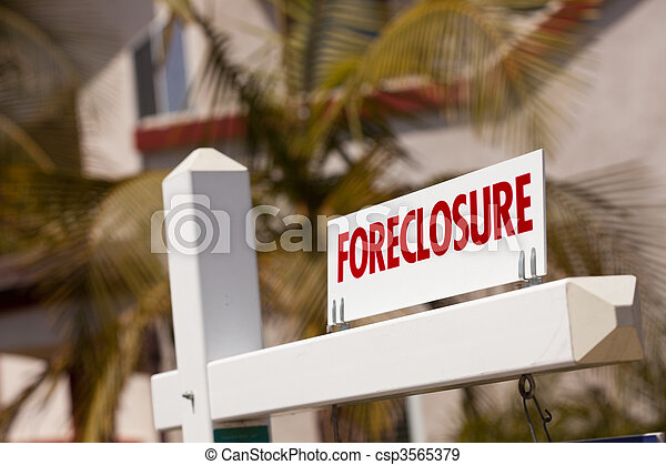 Close-up Foreclosure Real Estate Sign - csp3565379
