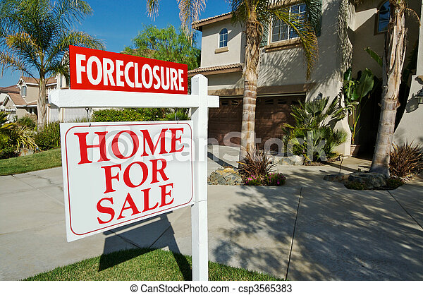 Foreclosure For Sale Real Estate Sign and House - csp3565383
