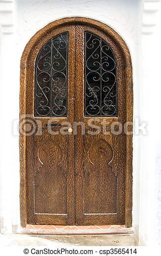 Very old wooden door of Morocco - csp3565414