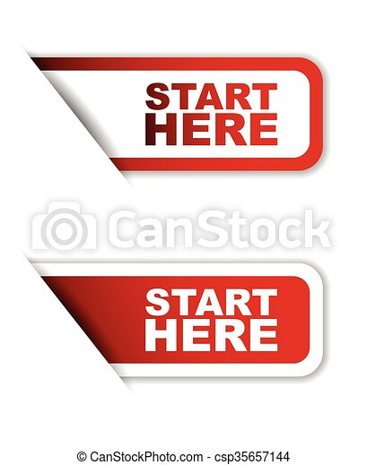 EPS Vector of red set vector paper stickers start here ...