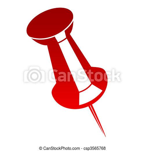 Red drawing pin or tack - csp3565768