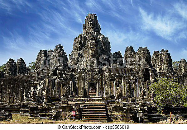 Ancient temple in Angkor Wat, Cambodia - csp3566019