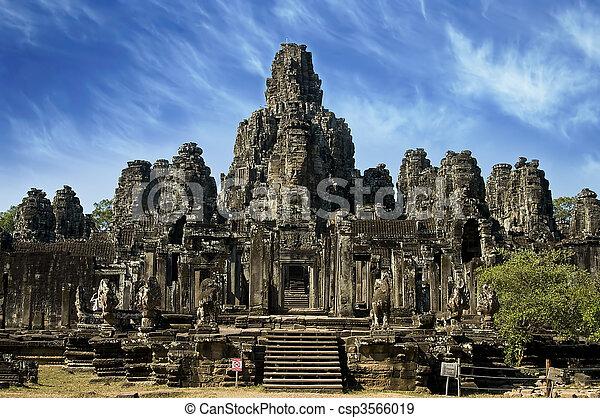 Ancient temple in Angkor Wat, Cambodia - csp3566019