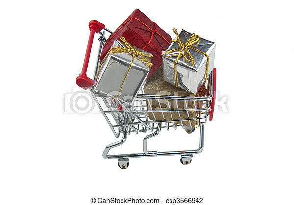 trolley full of presents - csp3566942