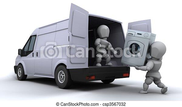 clip art de chargement fourgon hommes d m nagement 3d render de csp3567032. Black Bedroom Furniture Sets. Home Design Ideas