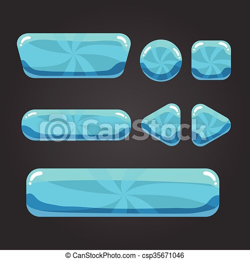 Set striped  button in cartoon styl - csp35671046