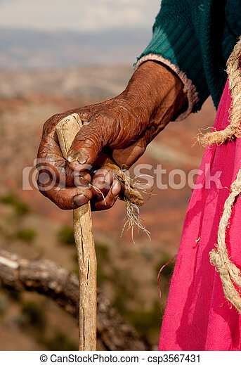 Hand of old woman in south america, Peru - csp3567431