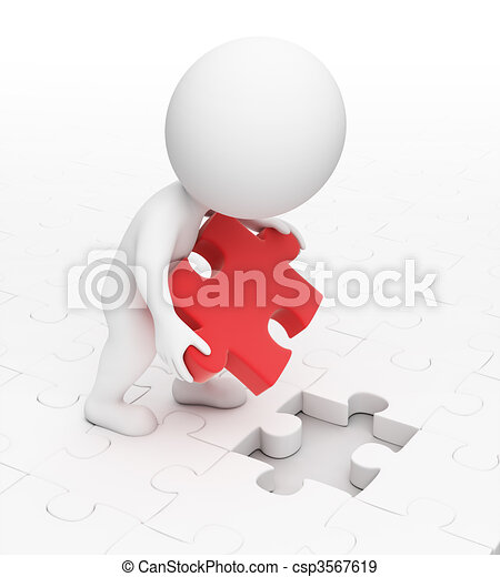 3d small people - puzzle - csp3567619