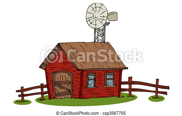 Vector - Farm house with windmill. - stock illustration, royalty free ...