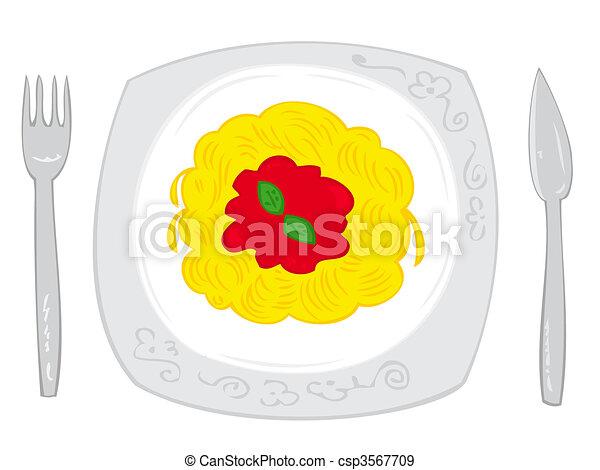 Spaghetti with tomato sauce. - csp3567709