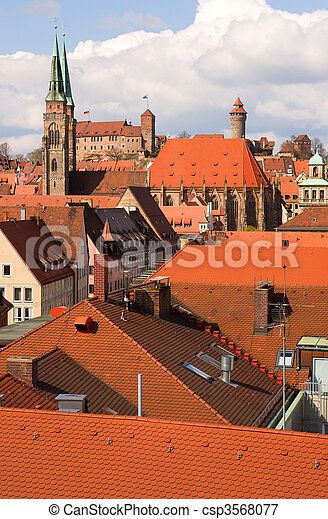Bird's-eye view of Nuremberg roofs. Bavaria, Germany - csp3568077