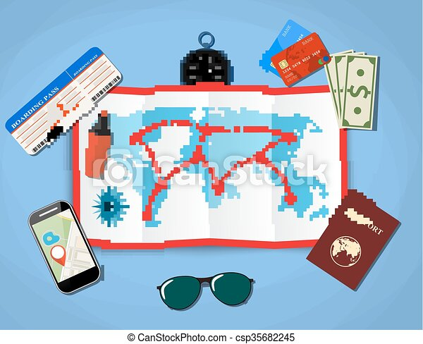 paper map of world. passport, airplane ticket, smartphone with navigation application, money . vector illustration in flat design on blue background - csp35682245