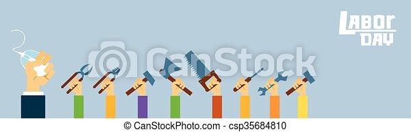 People Hand Hold Tools Manual Worker Spanner Hammer Saw International Labor Day - csp35684810