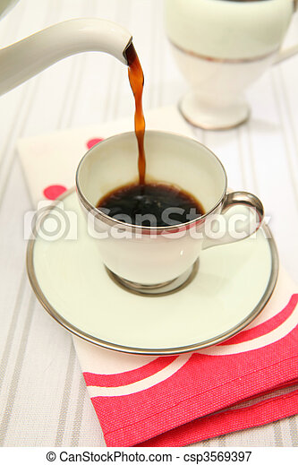 pouring coffee retro cup