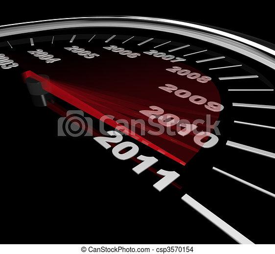 2011 - Speedometer Reaching New Year - csp3570154
