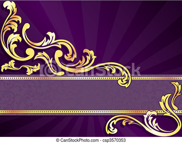 Purple and gold horizontal banner  - csp3570353