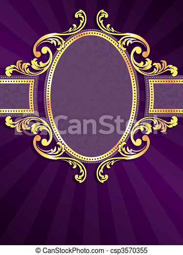Purple and gold vertical label - csp3570355