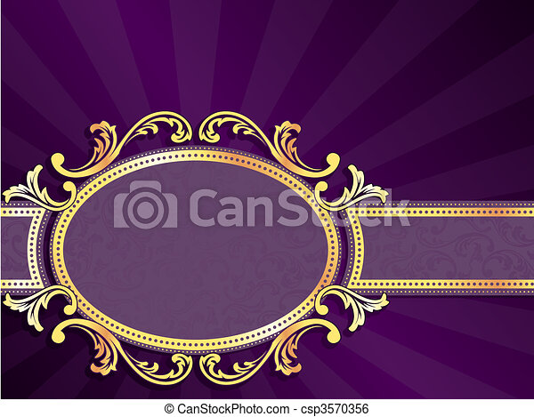 Purple and gold horizontal label - csp3570356