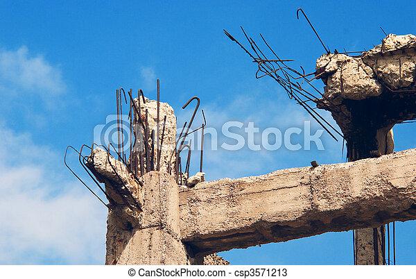 Destroyed building, debris. - csp3571213