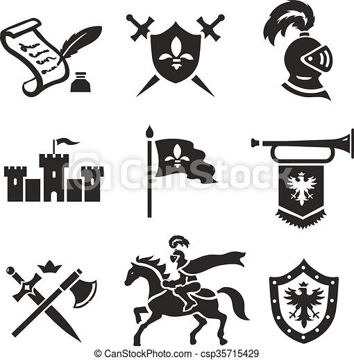Vector Illustration of Knight medieval history vector icons set ...