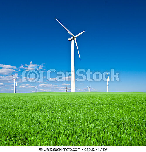 Wind power station - wind turbine against the blue sky  - csp3571719
