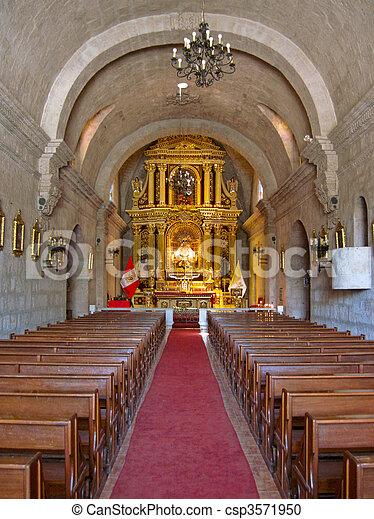 Arequipa, 美國, 南方, 秘魯, 教堂 - csp3571950