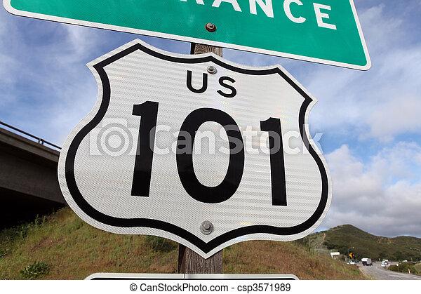 Freeway Entrance Sign US 101 - csp3571989