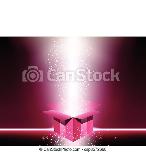 Pink gift box with stars. - csp3572668