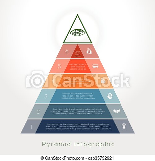 Template Infographic pyramid for six text area - csp35732921