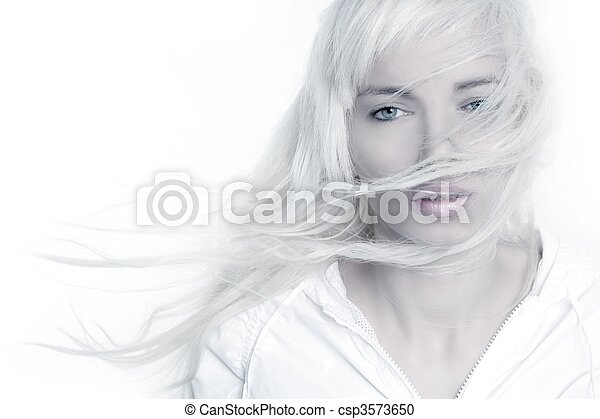 beautiful blonde girl fashion wind long hair over white - csp3573650