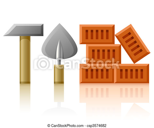 building tools hammer trowel and bricks - csp3574682
